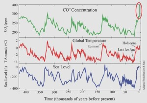 Temperature Co2 And Sea Levels Move Together Feedback